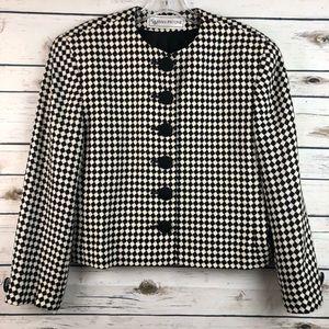 Vintage Evan Picone sz 10 Black white tweed jacket